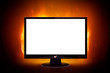Monitor on fire (white screen)