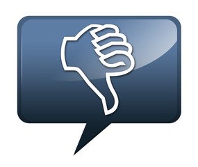 "Speech bubble shaped icon ""Thumbs Down"""