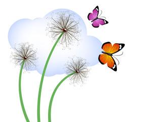 Spring vector - dandelions and butterflies
