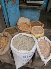 Market with food stands in Darjeeling, India