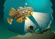 Weird wooden submarine exploring deep sea, vector