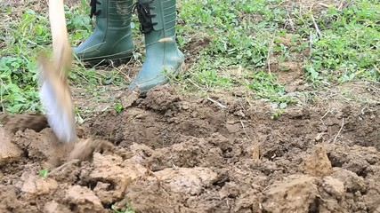 Digging soil by gardening spade in plastic green boots
