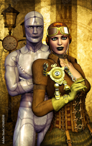 steampunk girl and robot