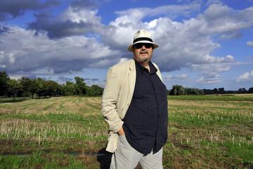 happy, hat, harvest, man, open, outdoor, portrait, summer