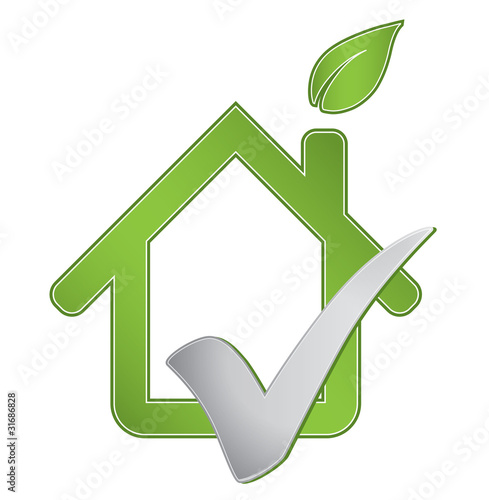 Ecological greenhouse real estate property check mark