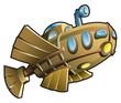 Weird wooden submarine, fantasy cartoon vector