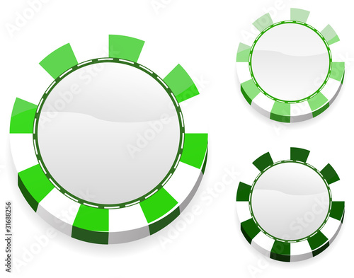 blank green casino chips