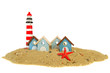 Row beach huts with lighthouse