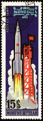 Rocket start on Mongolian post stamp