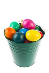 Green bucket easter eggs