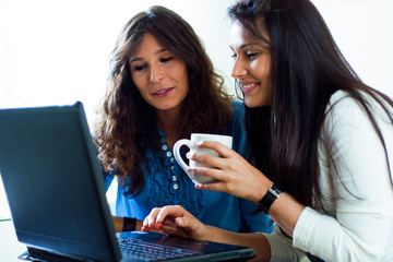 two young female friends having fun with laptop computer
