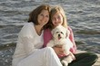 Mother&DaughterOnDockWithDog,LakeOfTheWoods,Ontario,Canada