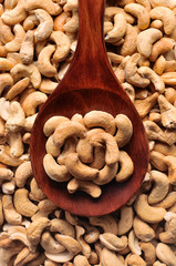 Cashew nuts in spoon