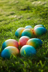 Multi colored Easter eggs in grass