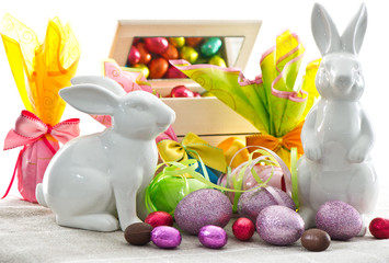 easter decoration. eggs and bunnies