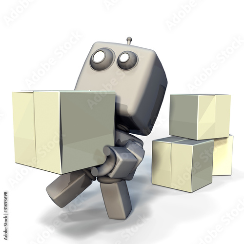 Gray Robot with blank crates