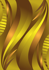 Golden waves on a brown background.Banner.Background.