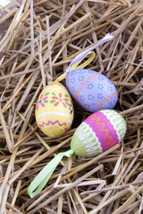easter egg nest with straw