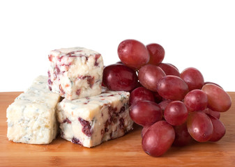 Red grapes and blue cheese with cranberries