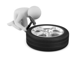 man repairs wheel. Isolated 3D image