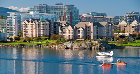 Fragment of busy harbor at downtown of Victoria, Canada.
