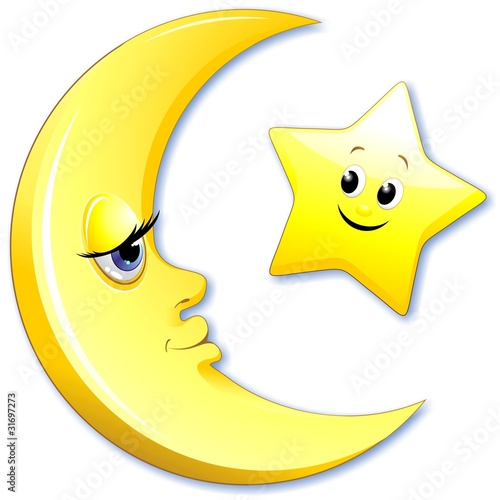 Luna e Stella Cartoon-Moon and Star-Vector