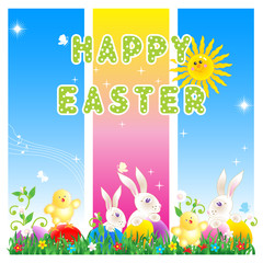 Happy Easter greeting card or poster background