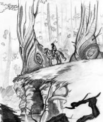 Fata a cavallo in un bosco fantastico