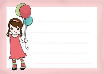 Invito con bimba e palloncini