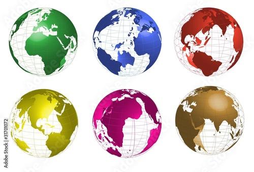Mapa mundi,globo terraqueo en diferentes colores