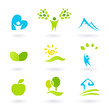 Nature, landscape, people and  organic Icons and Symbols