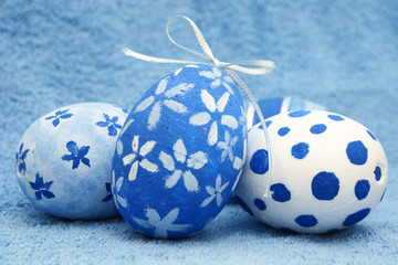blue painted eggs