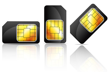 black sim card isolated on white background