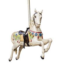 Cheval de bois sur un carrousel, fond blanc