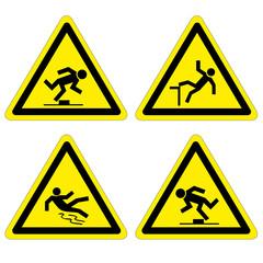 Warnung vor Stolpergefahr Absturzgefahr Rutschgefahr