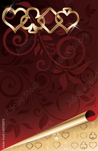 Poker golden background, vector illustration
