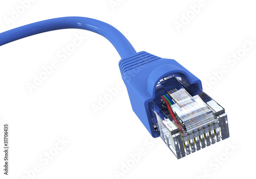 Blue network cable - curved