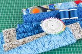 Patchwork equipment on green cutting mat