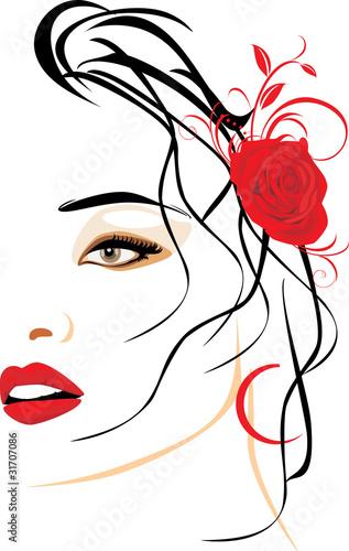 portret-piekna-kobieta-z-czerwieni-roza-w-wlosy