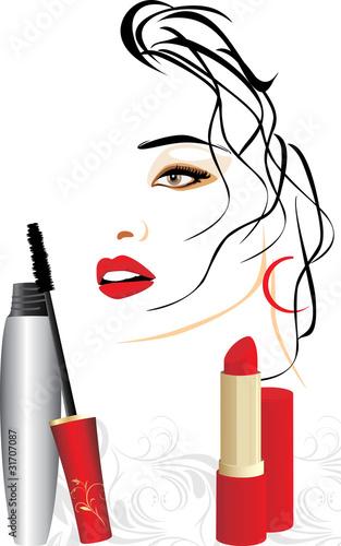 Mascara, red lipstick and female portrait - 31707087