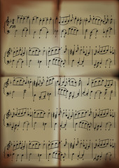 close-up of sheet music in old paper