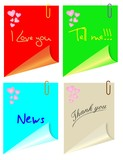 Post it colored with hearts and various phrases, vector poster