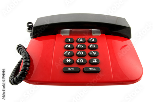 red telephone set isolated on white background