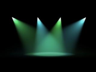 Luci di scena verdi e azzurre