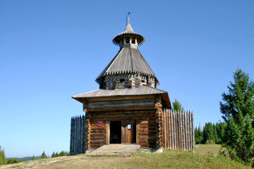 Watchtower in architectural museum Khokhlovka, Russia