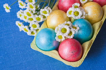 Easter eggs and flowers.