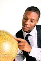 Man holding globe with a smile