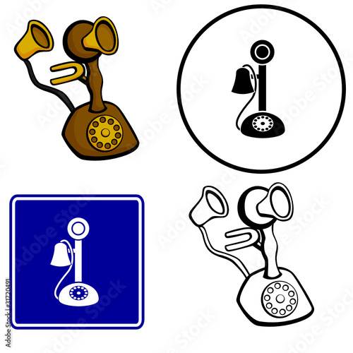 antique phone illustration sign and symbol