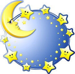 Luna e Stelle Sfondo-Moon and Stars Background-Vector