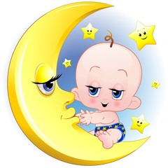 Bambino Neonato e Luna Cartoon-Baby with Moon-Vector